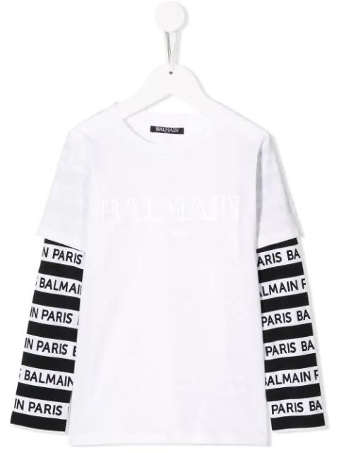 Balmain Teen Logo Print T-shirt In White