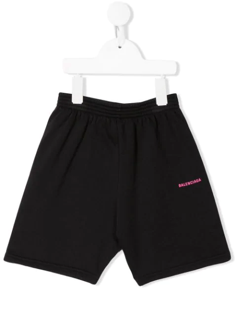 Balenciaga Kids' Printed Logo Casual Shorts In Black