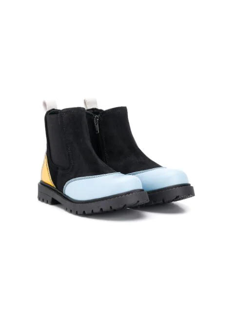 Marni Teen Contrasting Panels Ankle Boots In Black