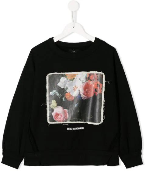Andorine Kids' Floral Print Sweatshirt In Black