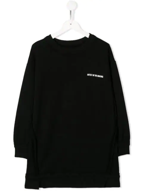 Andorine Kids' Distressed Print Sweatdress In Black