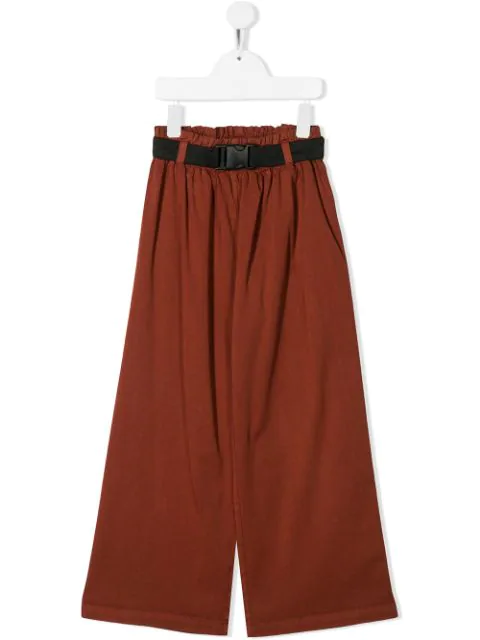 Andorine Kids' Loose-fit Flared Trousers In Brown