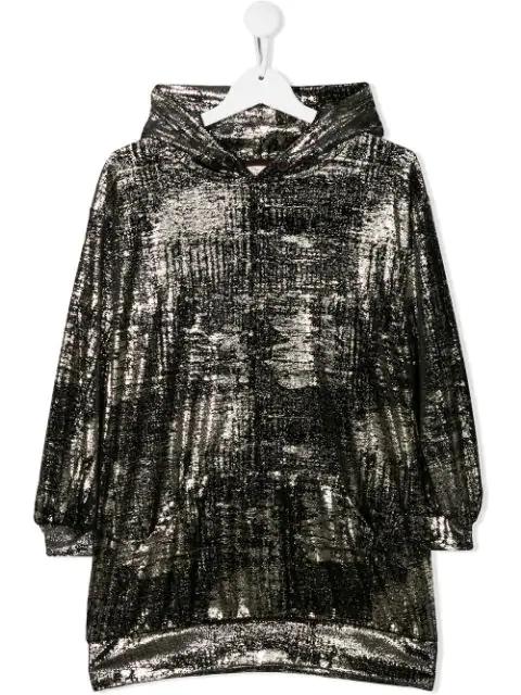 Andorine Kids' Velvet Hooded Dress In Gold