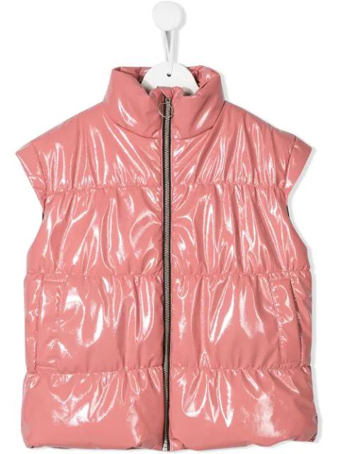 Andorine Kids' Leather Look Gilet In Pink