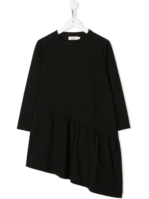 Andorine Kids' Asymmetric Hem Dress In Black