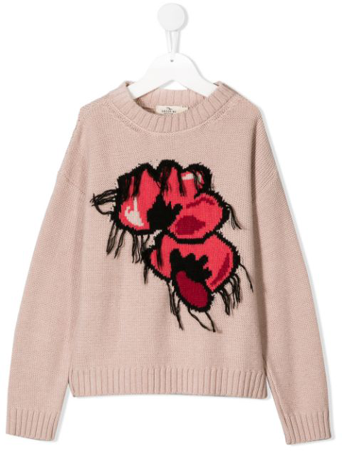 Andorine Kids' Floral Knitted Jumper In Pink