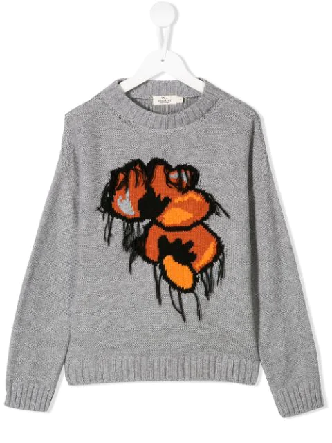 Andorine Kids' Floral Knitted Jumper In Grey