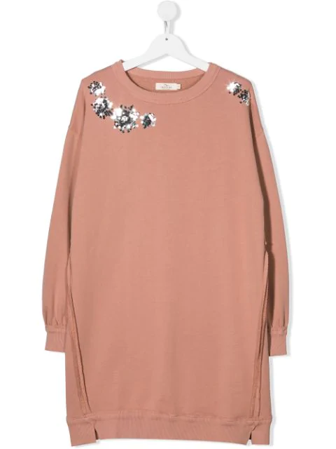Andorine Teen Embroidered Sweatshirt Dress In Pink