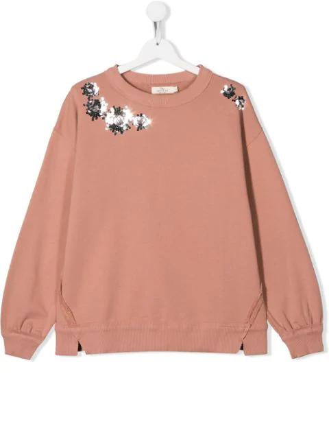 Andorine Teen Embroidered Sweatshirt In Pink