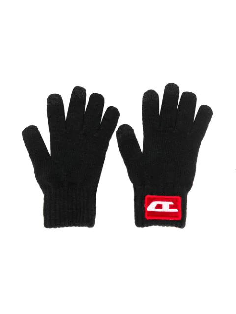 Diesel Babies' Knitted Logo Gloves In Black