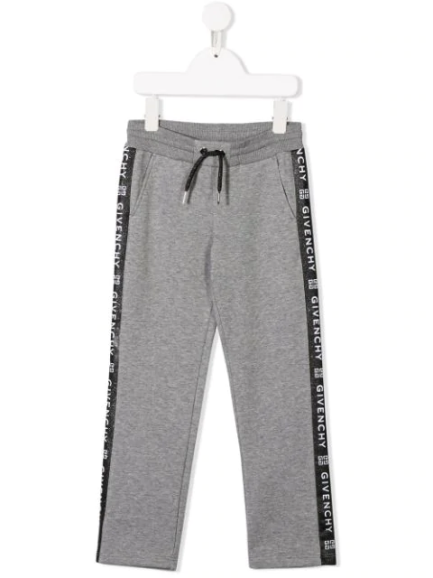 Givenchy Kids' Logo Tape Tracksuit Bottoms In Grey