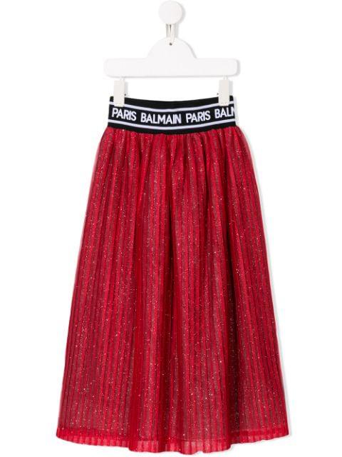 Balmain Kids' Glitter Pleated Skirt In Red