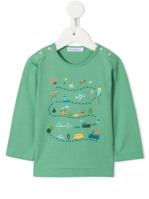 Familiar Babies' Printed Long-sleeved T-shirt In Green