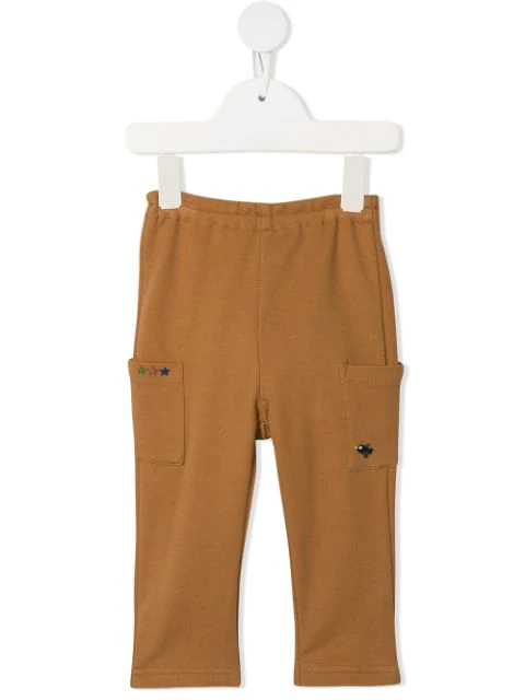 Familiar Babies' Patch Pocket Track Pants In Brown