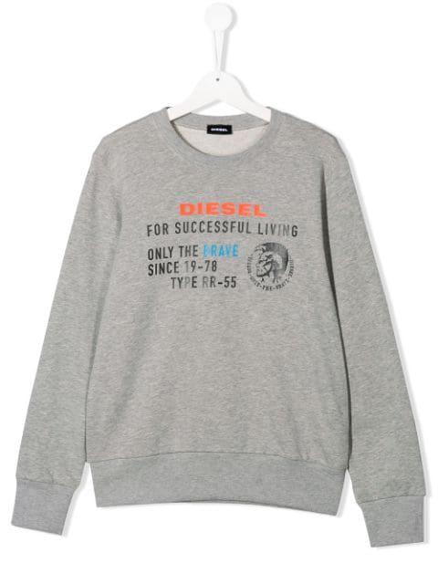 Diesel Kids' Branded Sweatshirt In Grey