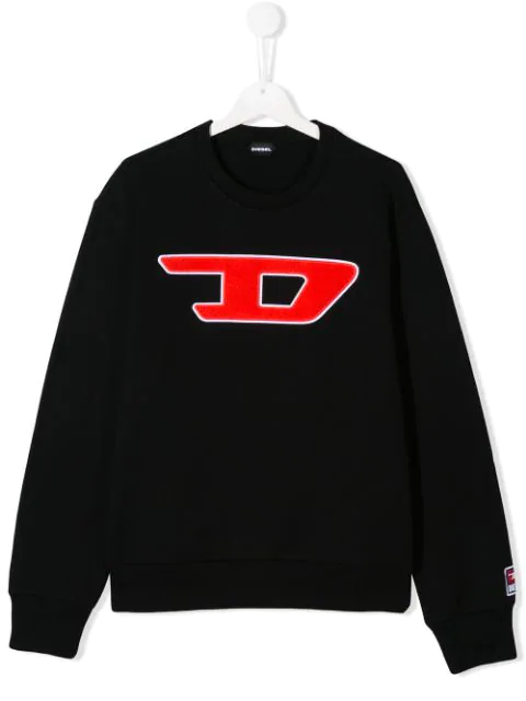 Diesel Kids' Logo Embroidered Sweater In Black