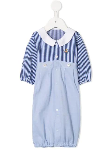 Familiar Babies' Stripe Panelled Romper In Blue