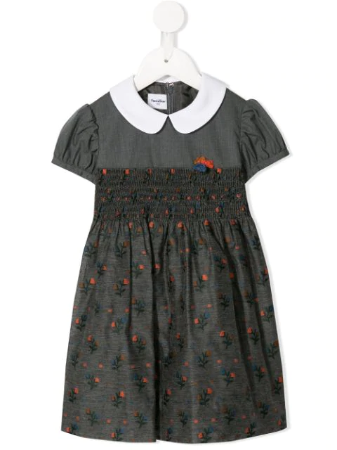 Familiar Kids' Floral Print Dress In Grey