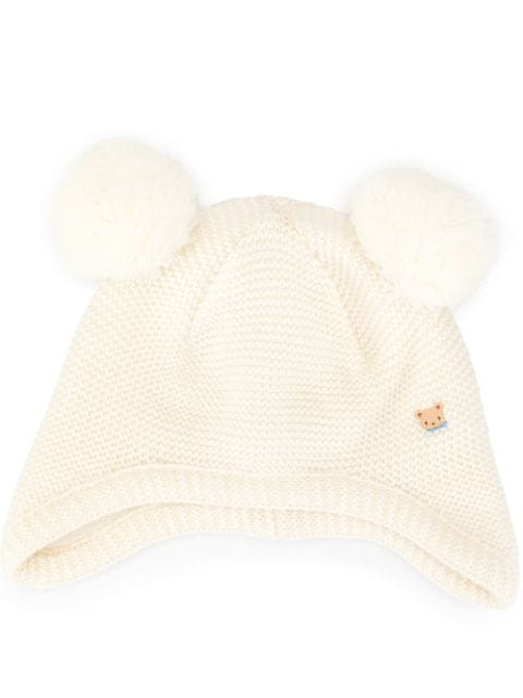 Familiar Babies' Double Pom Pom Hat In White