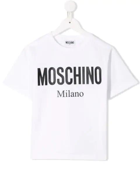 Moschino Kids' Logo Print T-shirt In White