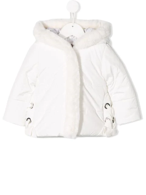 Lapin House Babies' Fur Trimmed Coat In White