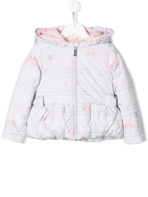 Lapin House Kids' Fur Hooded Jacket In White