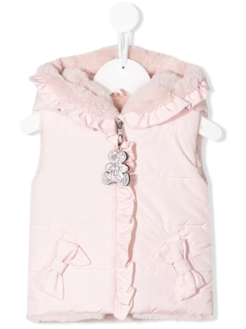 Lapin House Babies' Hooded Gilet In Pink