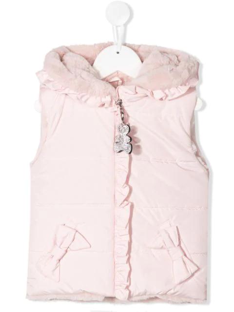 Lapin House Kids' Fur Hooded Gilet In Pink