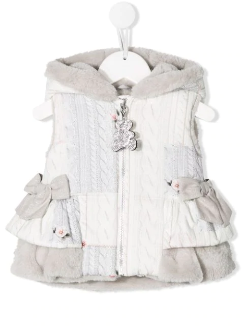 Lapin House Babies' Bow Detail Gilet In Grey