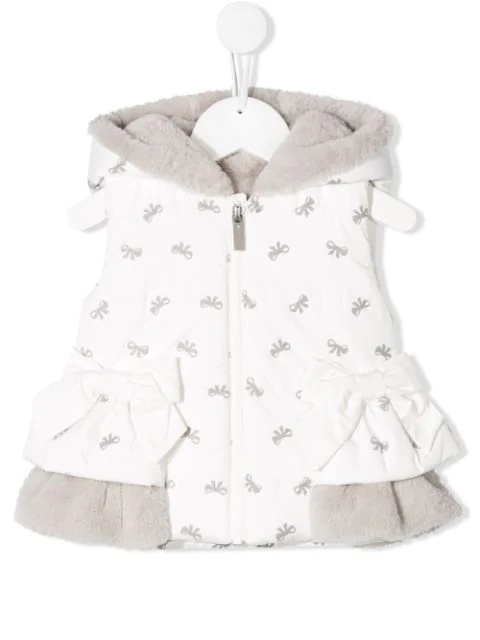 Lapin House Babies' Hooded Gilet In White