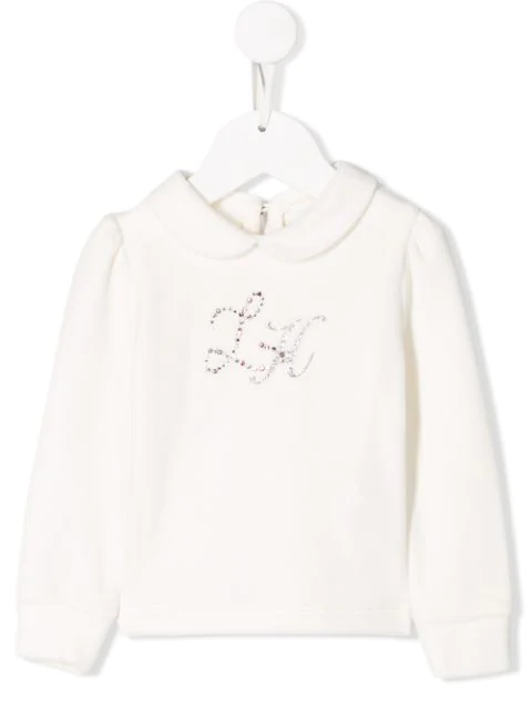 Lapin House Babies' Embellished Logo Jumper In White