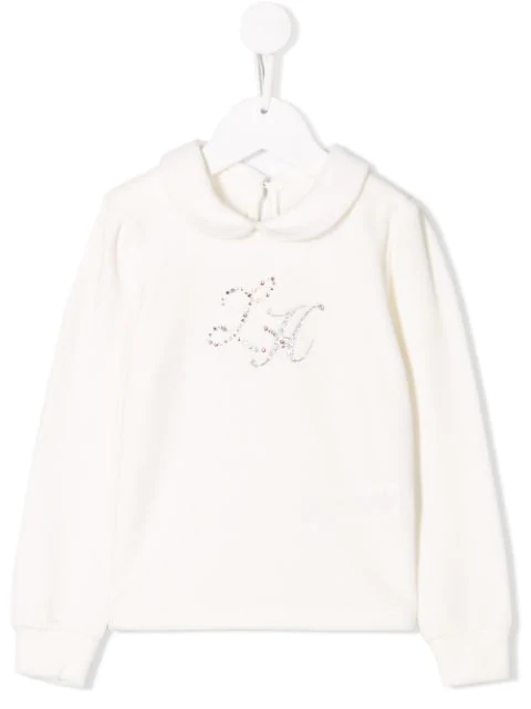 Lapin House Kids' Crystal Embellished Top In White