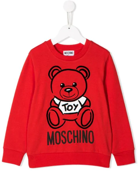 Moschino Kids' Teddy Print Sweater In Red
