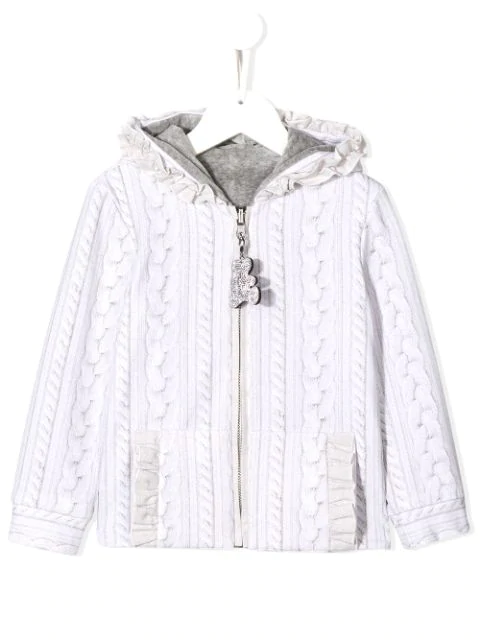 Lapin House Kids' Cable Knit Print Hoodie In Neutrals