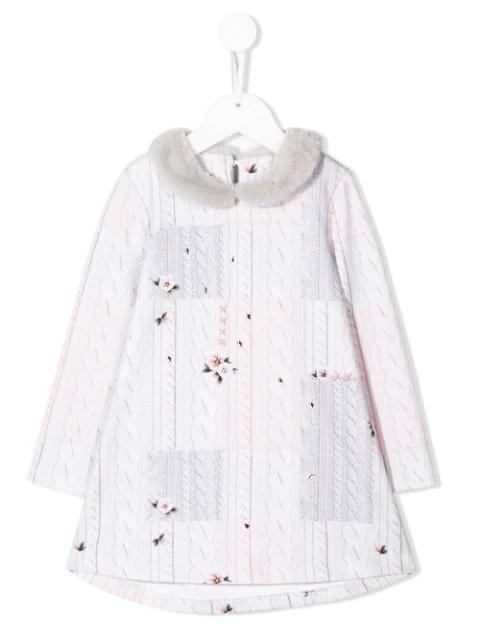 Lapin House Kids' Knit Print Dress In Grey