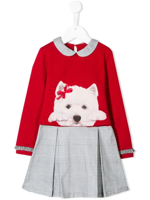Lapin House Kids' Layered Dog-print Dress In Red