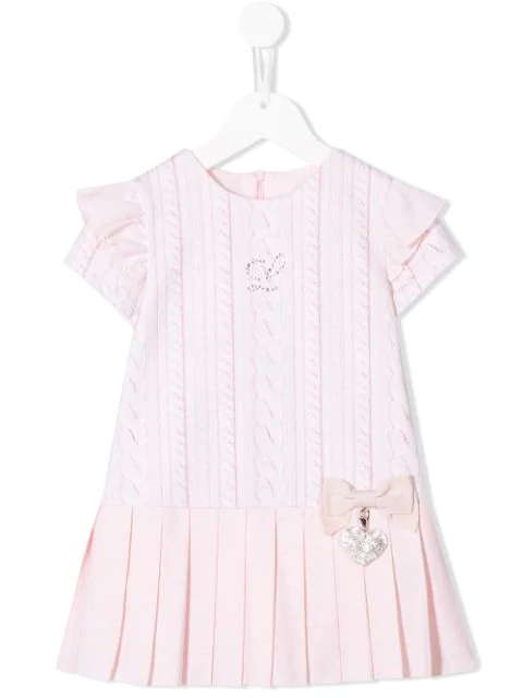Lapin House Kids' Pleated Knit Print Dress In Pink