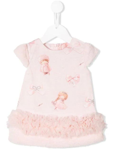 Lapin House Babies' Princess Print Dress In Pink