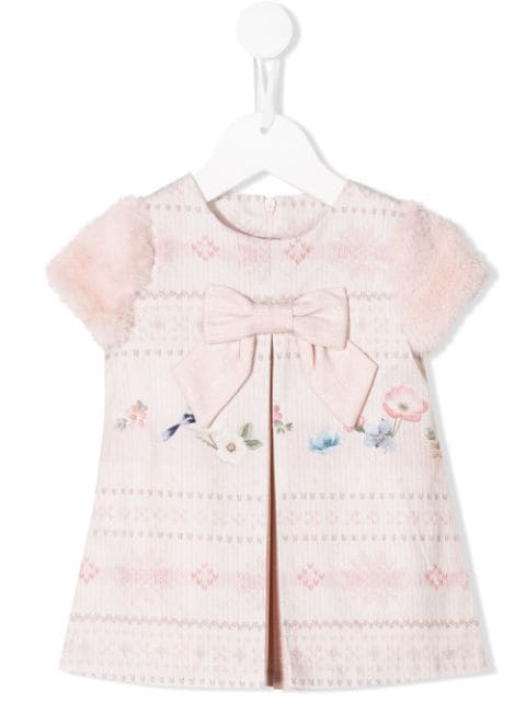 Lapin House Babies' Floral Knit Print Dress In Pink