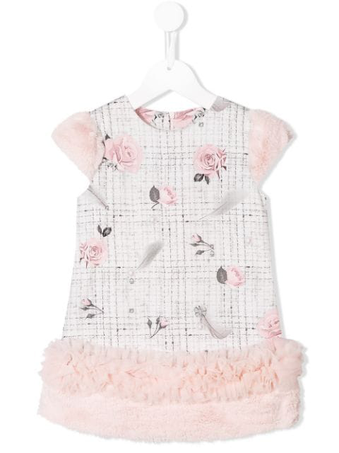 Lapin House Kids' Tweed And Floral-print Dress In White