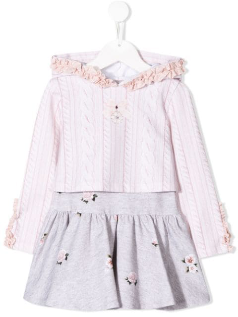 Lapin House Kids' Hooded Cable Knit Print Dress In Pink