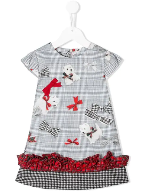 Lapin House Kids' Tartan Check Mini Dress In Grey