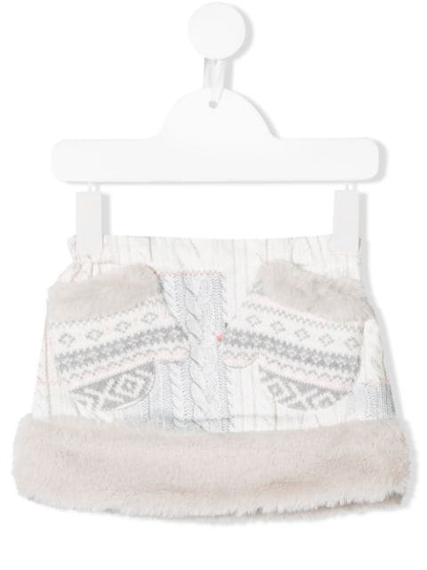 Lapin House Babies' Knit Print Short Skirt In Grey