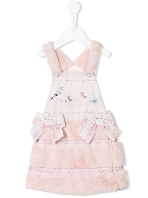 Lapin House Kids' Faux Fur Short Dress In Pink