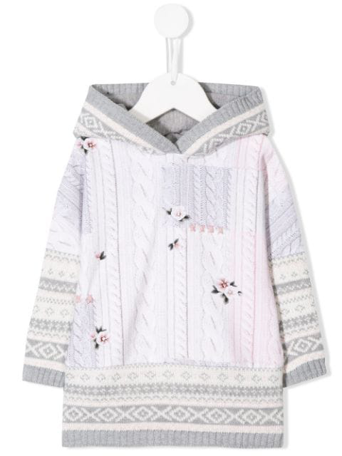 Lapin House Babies' Hooded Cable Knit Print Dress In Neutrals