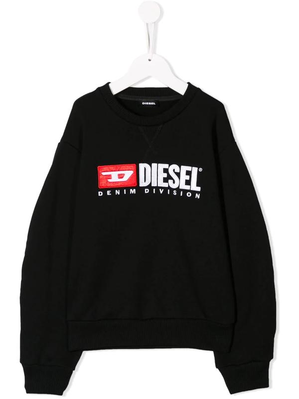 Diesel Kids' Embroidered Logo Sweatshirt In Black