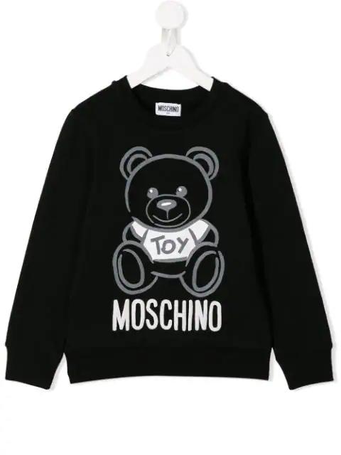 Moschino Kids' Teddy Bear Print Sweatshirt In Black