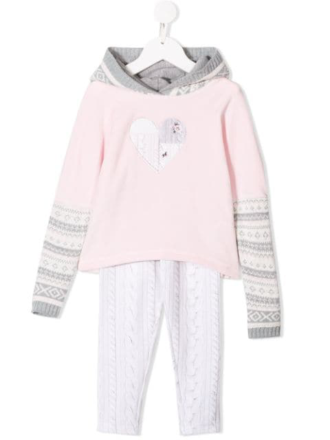 Lapin House Kids' Heart Patch Tracksuit Set In Grey