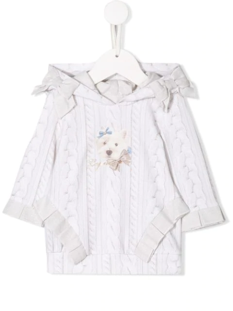 Lapin House Babies' Cable Knit Print Dress In White