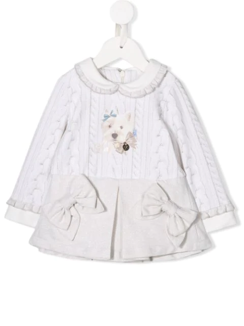 Lapin House Babies' Cable-knit Print Dress In White